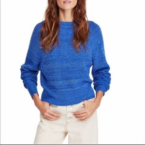 Free People Too Good Cobalt Blue Sweater Small